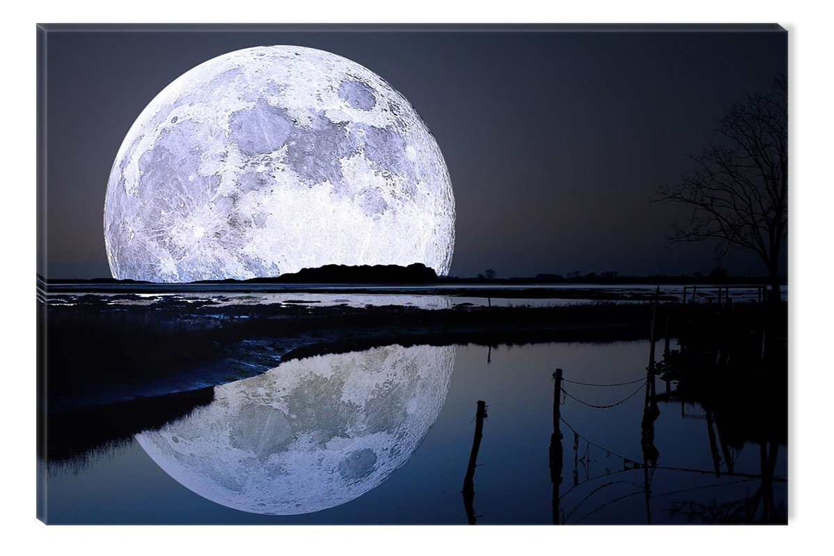 STUNNING GREEN FULL MOON ABSTRACT CANVAS PRINT WALL ART PICTURE PHOTO