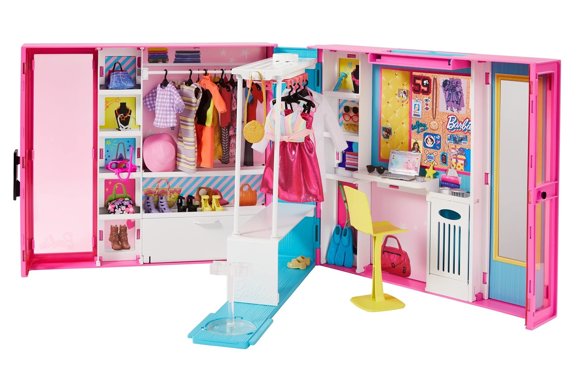 Barbie Dream Closet with 30+ Pieces, Toy Closet, Features 10+ Storage Areas, Full-Length Mirror, Includes 5 Outfits, Gift for Kids 3 to 7 Years Old, Pink