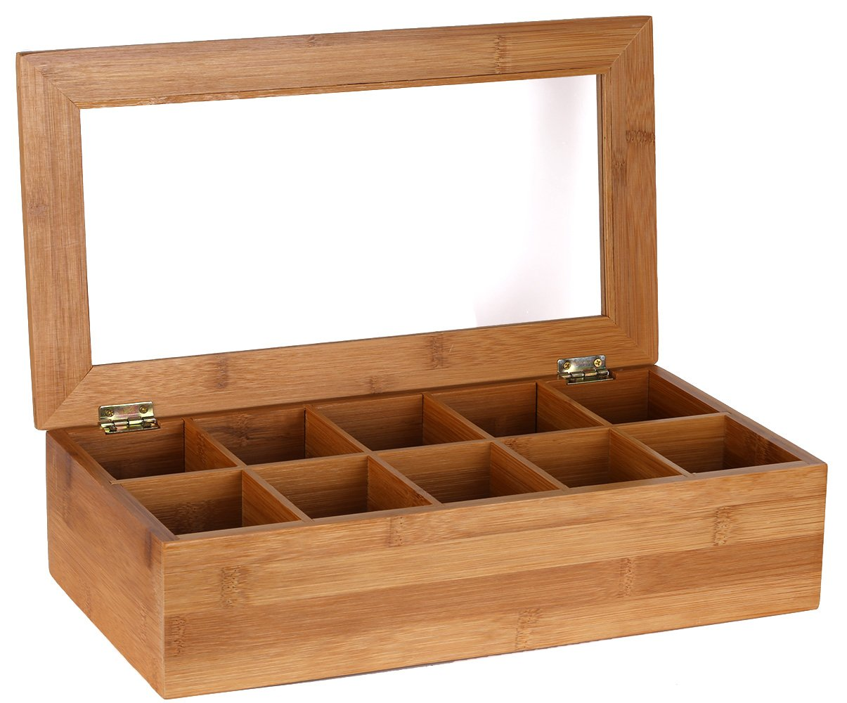 Estilo Bamboo Tea Storage Box, 10 Equally Divided Compartments