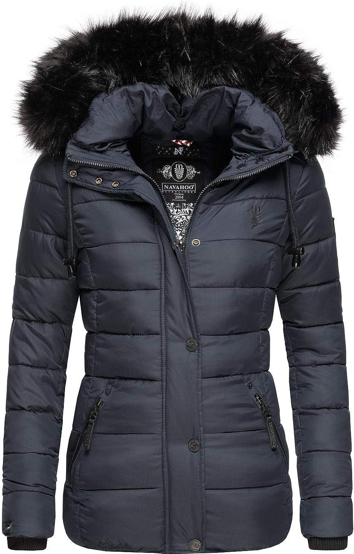 Navahoo Damen Winterjacke Steppjacke mit abnehmbarem Kunstfell Khingaas XS-XL