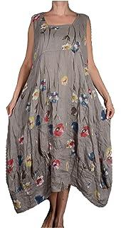 4d3c4b4b31cd51 Damen Pure Leinen Sommer zipfel Kleid Maxikleid Tunika 44 46 48 50 L XL XXL  Beige