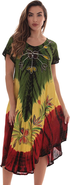 Riviera Sun Rasta Sundress for Women Rayon Cap Sleeve Summer Dress