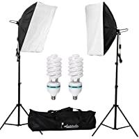 "Abeststudio 2x135W Continuous Lighting Kit 20""x28""/50x70cm Softbox Soft Box Photo Studio Set Light Bulbs Lamp 5500K Photography E27 Socket Softboxes UK Plug"