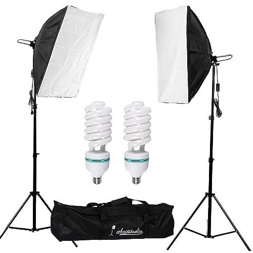 "Abeststudio 2x135W Continuous Lighting Kit 20""x28""/50x70cm Softbox Soft Box Photo Studio Set Light Bulbs Lamp 5500K Photography E27 Socket Softboxes UK Plug"