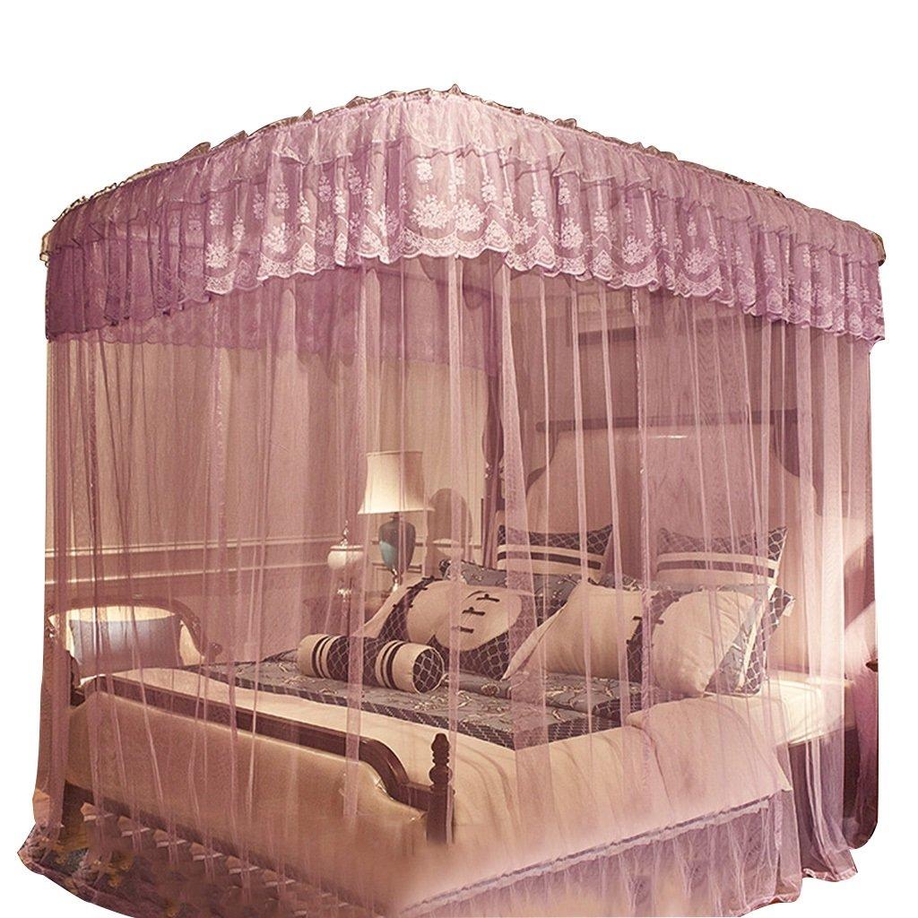 Moskitonetze U-Typ verstellbar Verstärkte Halterung 2,2 Meter 2,1 Meter hoch großer Raum Nicht schütteln Nicht durchhängen Wetter- & Sichtschutz (Farbe : lila, Größe : 1.5 m (5 ft) Bed)