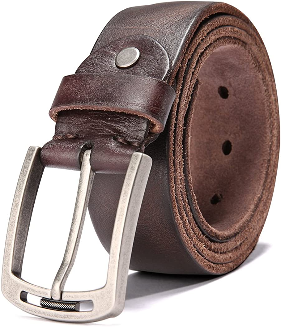 Mens 100/% Italian Cow Leather Belt Men With Anti-Scratch Buckle,Packed in a Box
