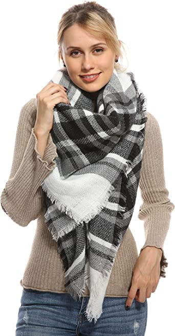 2019 Womens Cashmere Plaid Blanket Fall and Winter Fashion Scarf Warm Oversized Shawl