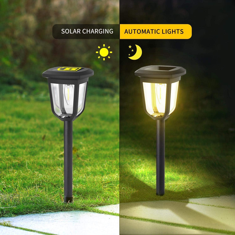 Aigostar Lámpara solar - Lámpara LED para exterior, resistente al agua, luces solares led exterior jardín, IP44. Recomendado para jardines o terrenos blandos donde colocarlo. 2 unidades. Negro.: Amazon.es: Iluminación