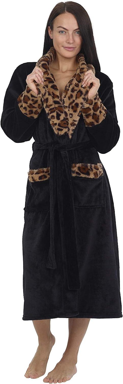 CityComfort Bata de Estar por Casa Mujer Invierno con Capucha, Ropa de Dormir Suave Material Forro Polar Estampado Leopardo o Gris, Batín Tejido Peluche Accesorios Mujer