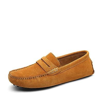 3c8b7714b9810 Amazon.com | DEKABR Size 49 Men Casual Shoes Fashion Men Shoes Genuine  Leather Men Loafers Moccasins Slip On Men's Flats Male Driving Shoes, 01 Light  Brown, ...