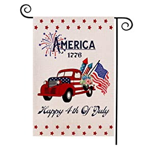 Acerich Vintage Car Memorial Day Garden Flag - Patriotic Garden Flag- 4th of July Decorations - Perfect Welcome Decor for Outdoor Yard Porch Patio Farmhouse Lawn