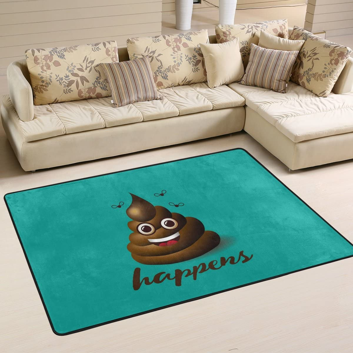 ALAZA Non Slip Area Rug Home Decor, Smiling Face Poop Emoji Durable Floor Mat Living Room Bedroom Carpets Doormats 72 x 48 inches