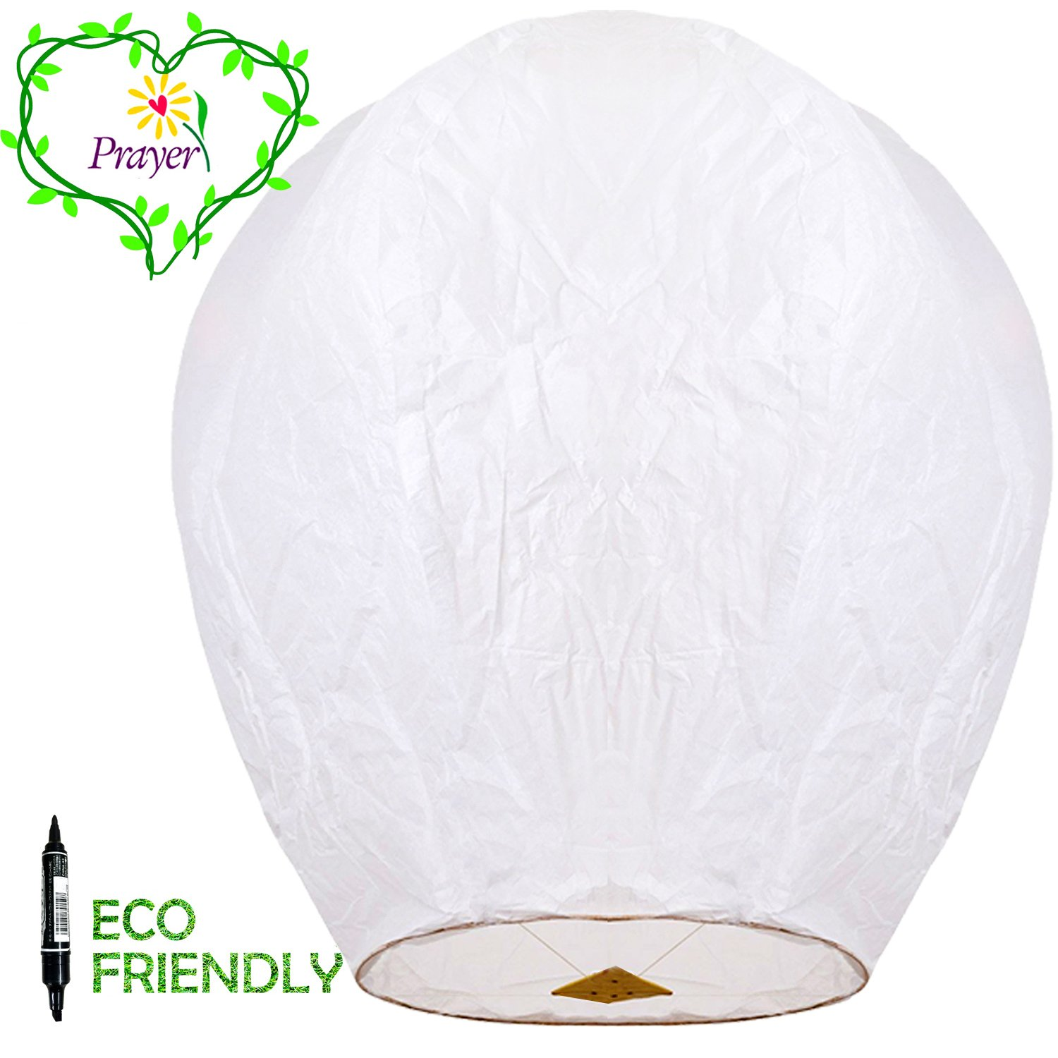 Chinese Lanterns & Sky Lanterns ECO Friendly - 100% Biodegradable - Beautiful Lantern for White for Weddings, Birthdays, Memorials and Much More (5 Pack) by Fun Entertainments