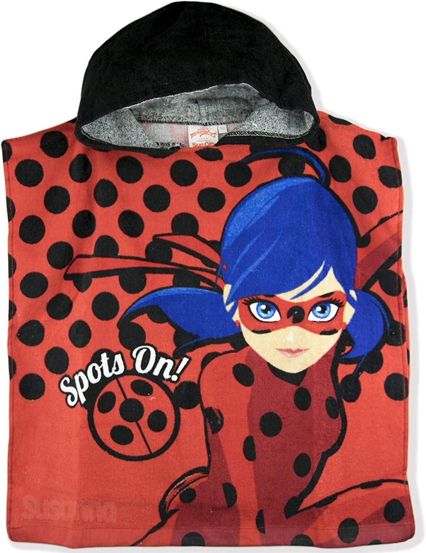 Miraculous LadyBug - Toalla de poncho de algodón con capucha, color rojo: Amazon.es: Hogar