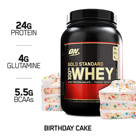 OPTIMUM NUTRITION GOLD STANDARD 100% Whey Protein Powder, Birthday Cake, 2 Pound