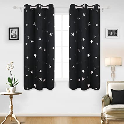 Deconovo Solid Thermal Insulated Blackout Curtains With Sliver Star Pattern 42 By 63 Inch Black 1