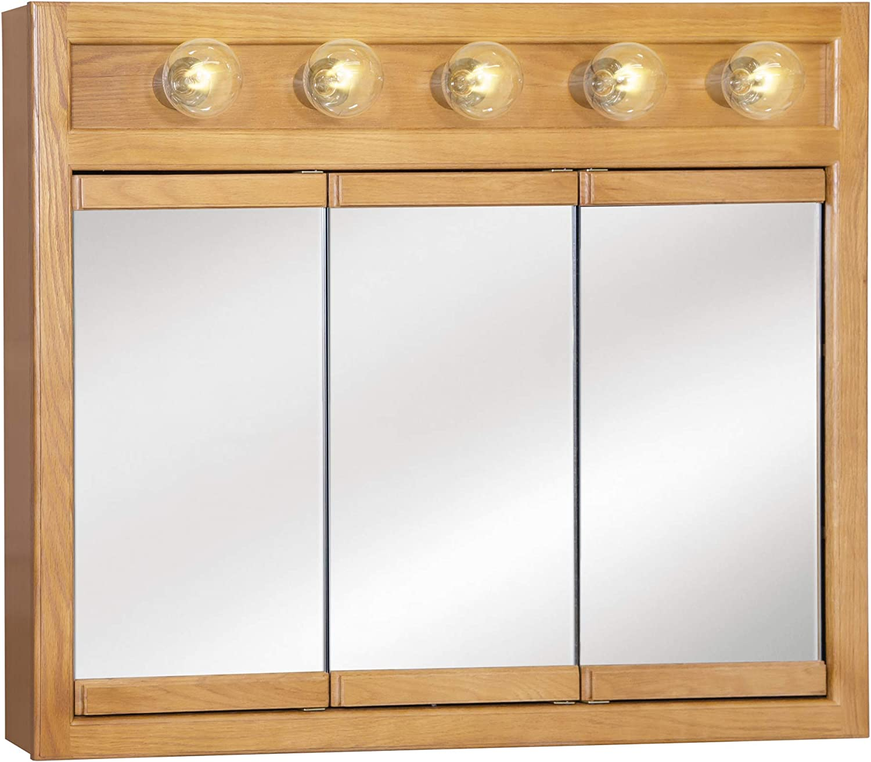 Design House 530618 Richland Lighted Mirrored Medicine Cabinet, Nutmeg Oak, 36