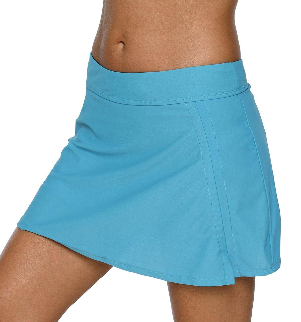BeautyIn Skirted Tankini Bottoms Swimwear for Womens Blue Skirt Swimsuit M