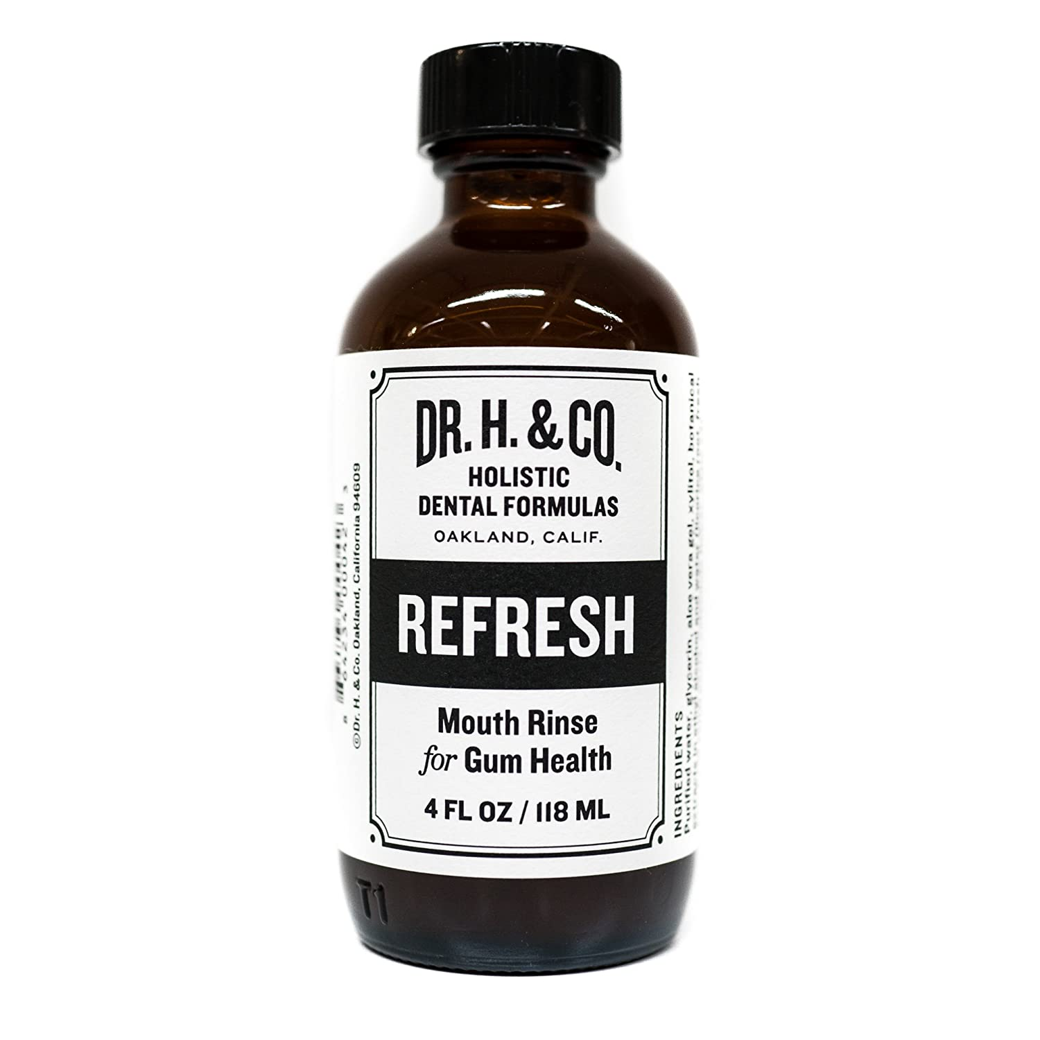 Dr. H. & Co. Dentist Formulated Refresh Mouthwash - All Natural Herbal and Holistic Mouth Rinse for Healthy Gums and Teeth (4 oz Glass Bottle)