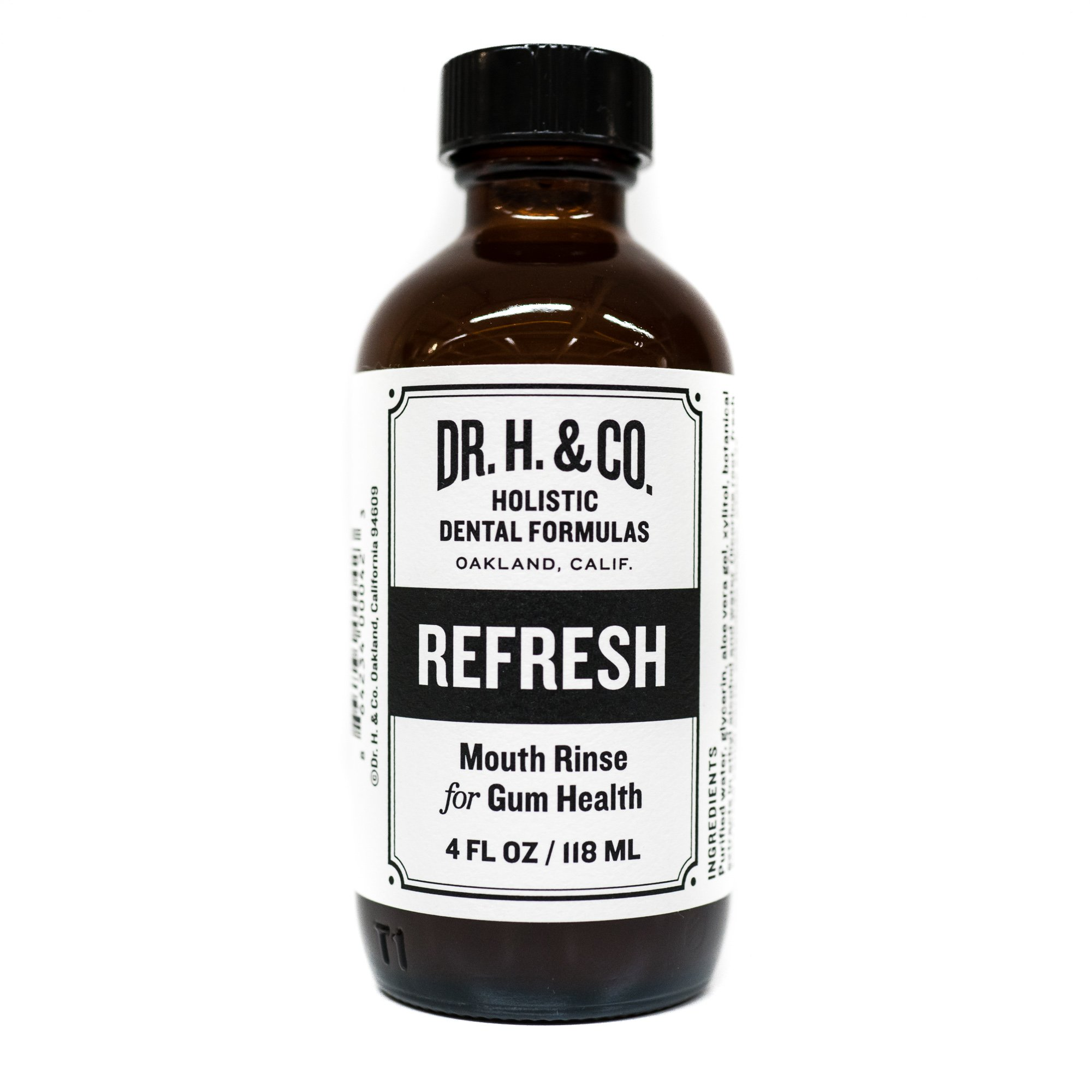 Dr. H. & Co. Dentist Formulated Refresh Mouthwash Ð All Natural Herbal and Holistic Mouth Rinse for Healthy Gums and Teeth (4 oz Glass Bottle)