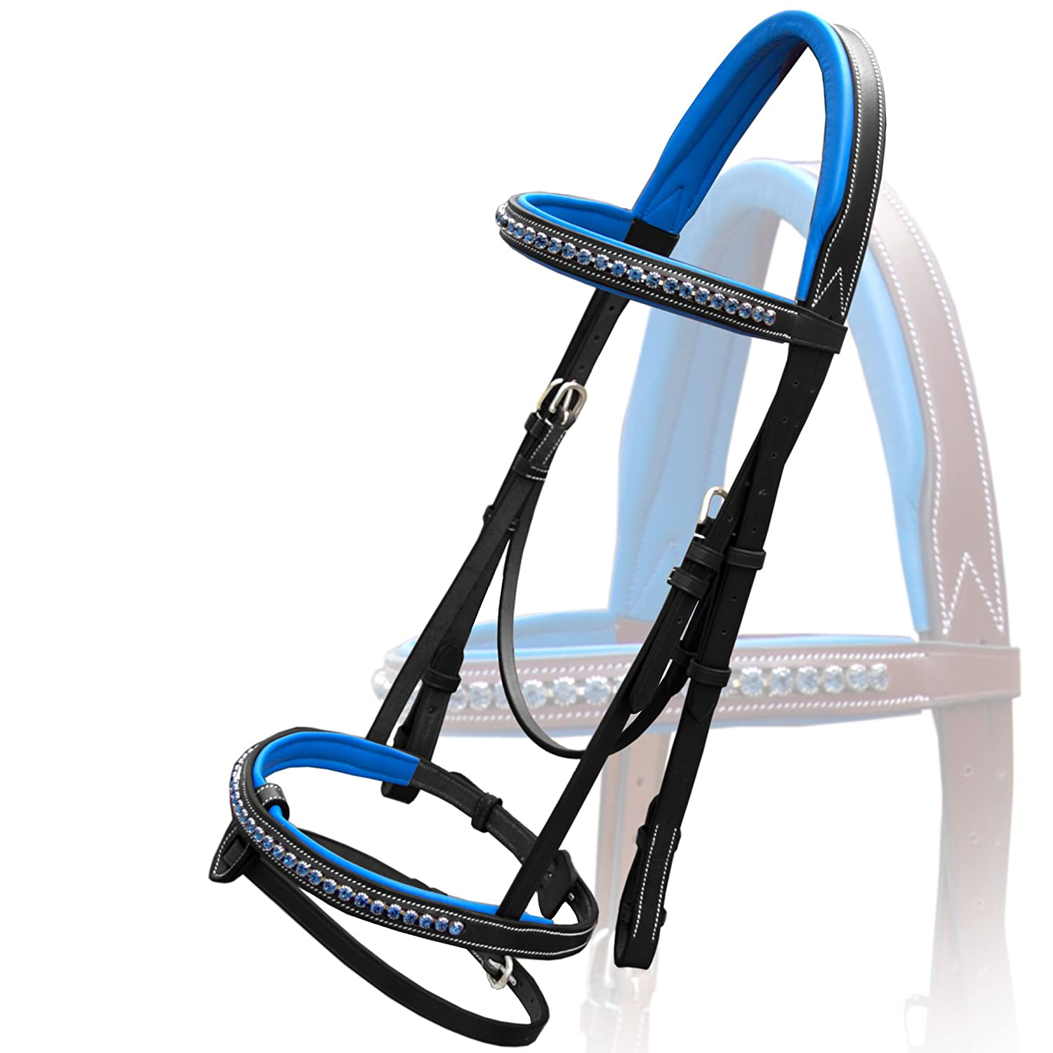 Black Warm Blood (Over) Black Warm Blood (Over) Exion Dark bluee Diamond Leather Bridle with Reins and Stainless Steel Buckles   Equestrian Show Jumping Padded Bridle Set  English Horse Riding Premium Tack   Black   Warm Blood (Over)