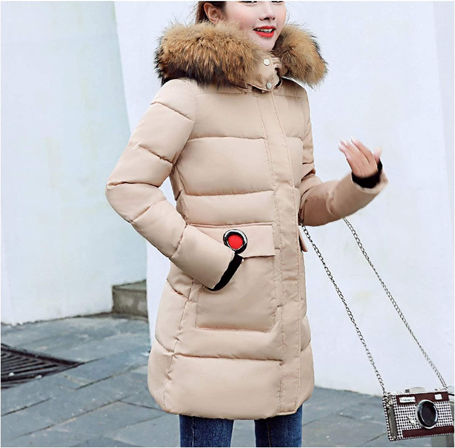 Fanatical-Night The Item was Updated,Big F-ur Collar Winter Jacket Women Hooded Cotton Padded Female Coat Long Outwear Casaco