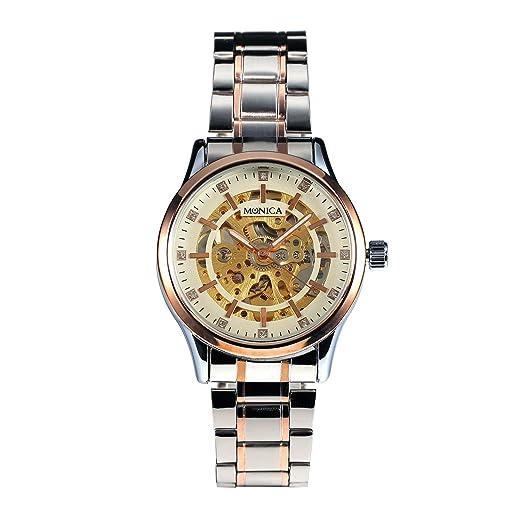 MÓNICA Hombre Mecánicos Automáticos del Reloj Acero Inoxidable Oro Hombre Estilo Clásico: Amazon.es: Relojes