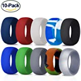 Silicone Wedding Ring for Men, 10 Pack Premium Medical Grade Wedding Bands Durable Comfortable Antibacterial Rubber Rings, Black White Blue Silver Gray, Made by Fynix