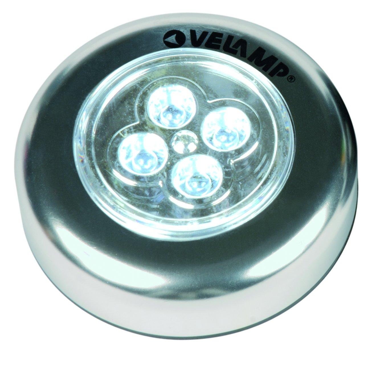 3 LED Velamp IL12 Mini Push Light in Alluminio