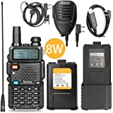 Walkie Talkie UV-5R Pro 8-Watt Dual Band Two Way Radio with one More 3800mAh Battery and Handheld Speaker Mic and NA-771 Antenna and Battery Eliminator and USB Programming Cable