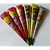 Fresh Natural Marron Henna (kajal brand) with Two B.l.a.c.k C.o.n.e + one s.i.l.v.r Decorative C.o.n.e WITH FREE(3+2+1 PACK)
