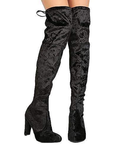 e9daff22d9 Wild Diva Women Velvet Thigh High Drawstring Chunky Heel Boot GJ95 - Black  (Size:
