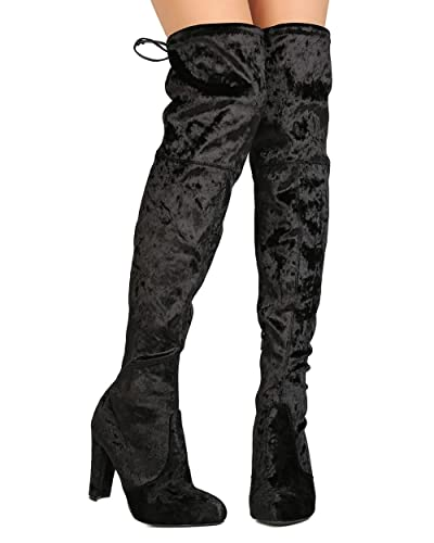aeeb5746ad9 Wild Diva Women Velvet Thigh High Drawstring Chunky Heel Boot GJ95 - Black  (Size