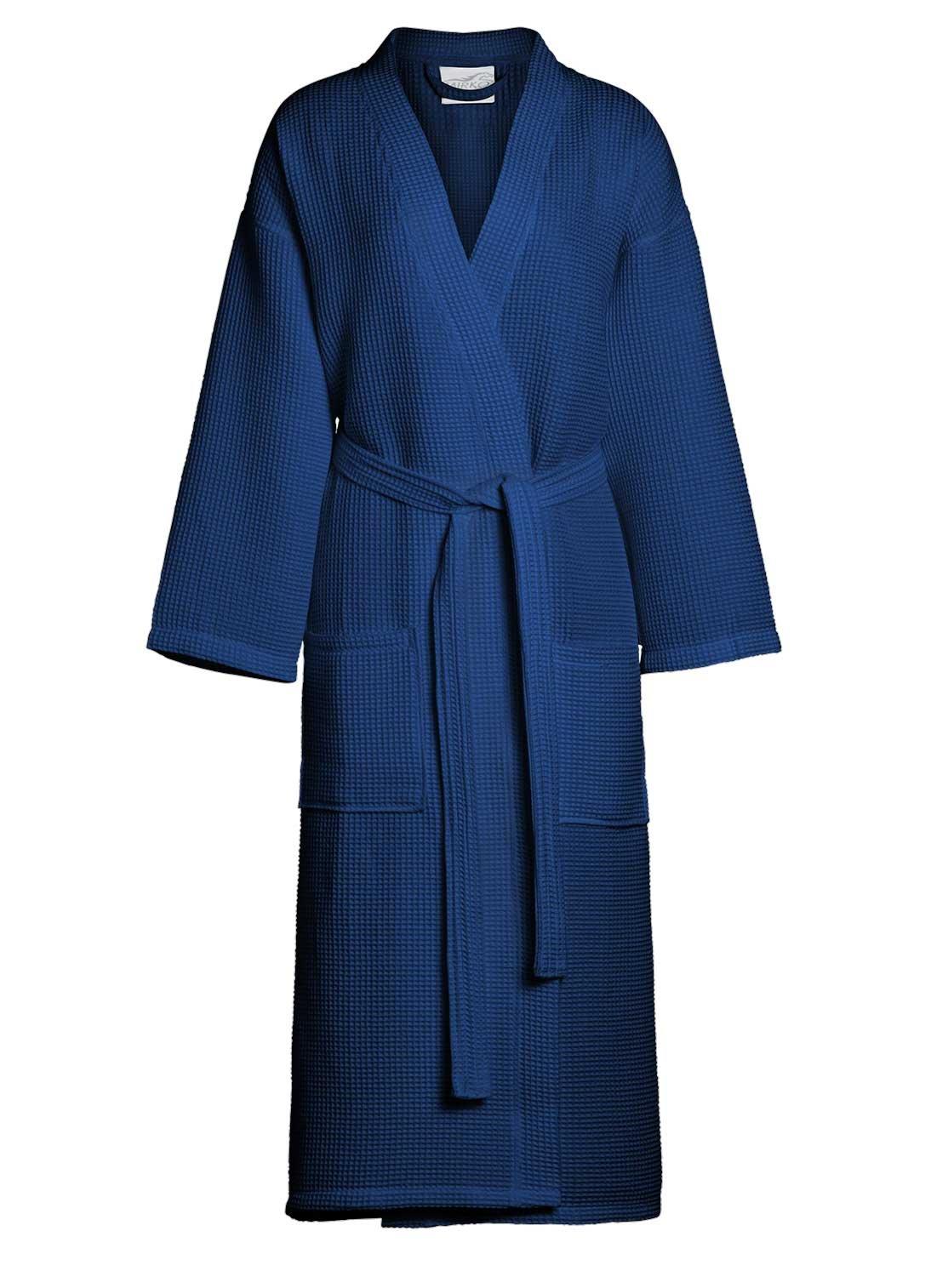 Men's Waffle Kimono Bathrobe Square Pattern - Spa Robe (Large/one Size, Navy)