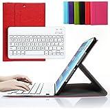Besmall Tastiera di Lingua Italiana Bluetooth Wireless Rimovibile con Cavo Ricarica USB per Apple iPad Air 1 air1 (numero modello A1474/A1475)+Custodia Cover Protettiva in Pelle Sintetica -Rosso-XLYP23D-IG