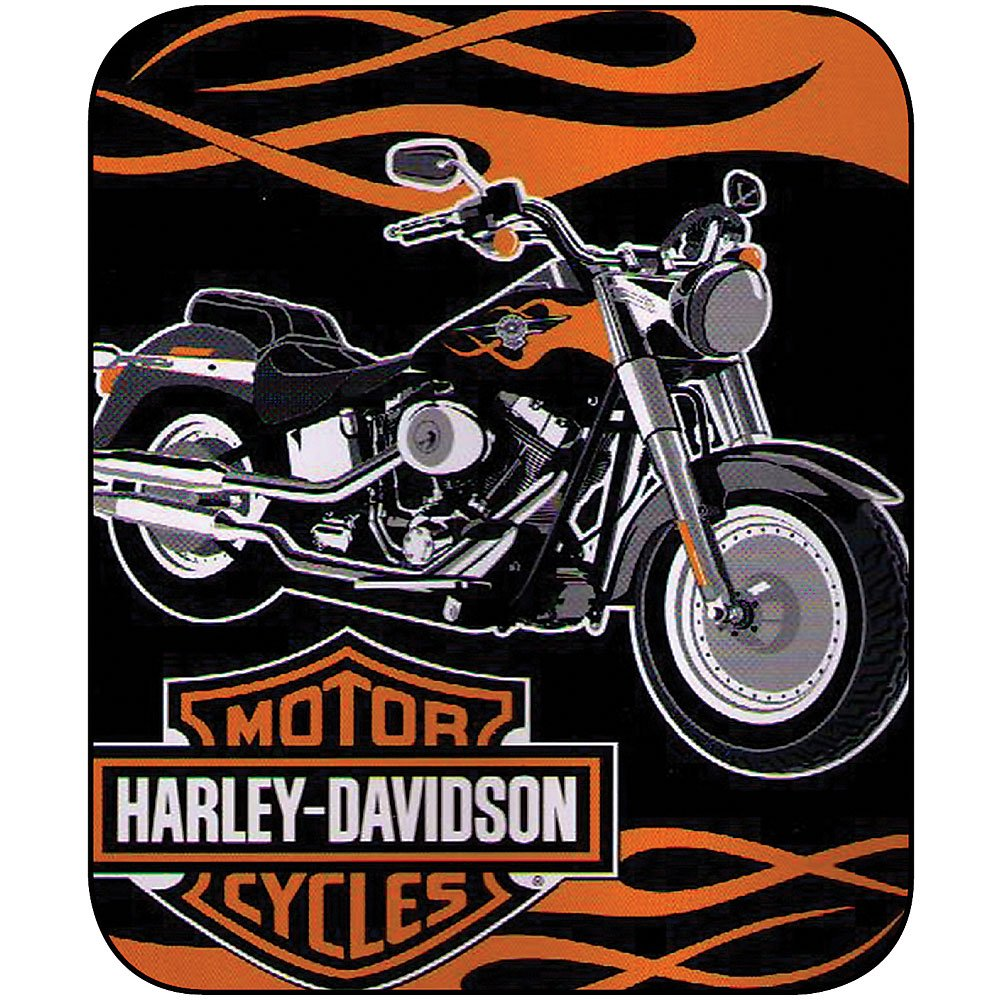 Harley Davidson Fat Boy Plush Super Plush Throw Blanket Twin 60