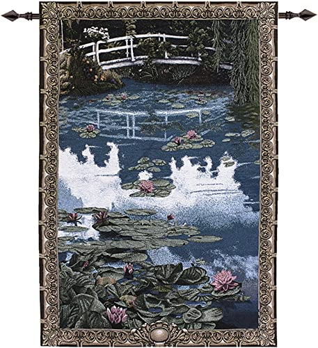 Manual Weavers Water Lilies on Garden Pond with Bridge Cotton Tapestry Wall Hanging 56 x 38
