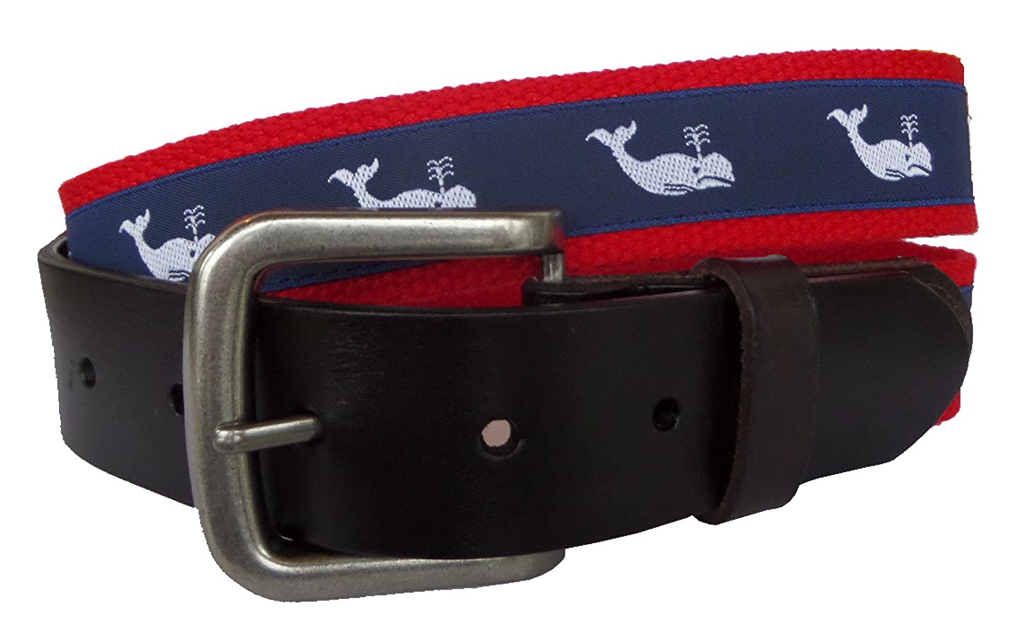 No27 Mens Nautical White Whale Ribbon on Navy Leather Belt Nautical Whale Leather Belt Leather Tab and Buckle