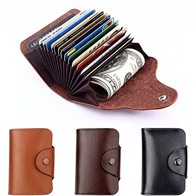 Leather Credit Card Case Wallet Pocket Money Holder Monedero ...