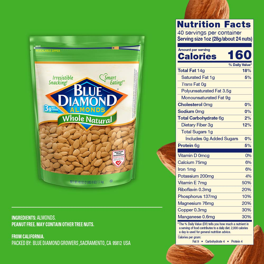 Blue Diamond Almonds, Raw Whole Natural, 40 Ounce by Blue Diamond Almonds