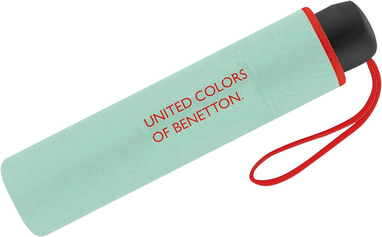 Paraguas Mini Mujer Manual United Colors of Benetton, Ocho Varillas, 95 cm de diámetro. (Verde Claro)