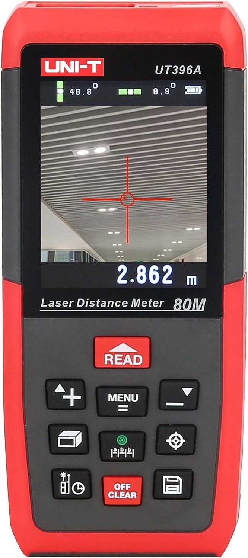 UNI-T 80m Telémetro láser - Medidor láser para exteriores Con Nivel de Burbuja (pantalla color giratoria, 3d Medición, sensor de inclinación, Ni-MH, Rango de medición 0,05-80 m) (1)