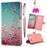 Galaxy Grand Prime Case -MOLLYCOOCLE[Pink Cherry Blossoms]Stand Wallet Purse Credit Card ID Holders TPU Soft Bumper Premium PU Leather Ultra Slim Fit Cover for Samsung Galaxy Grand Prime G5308/G530H