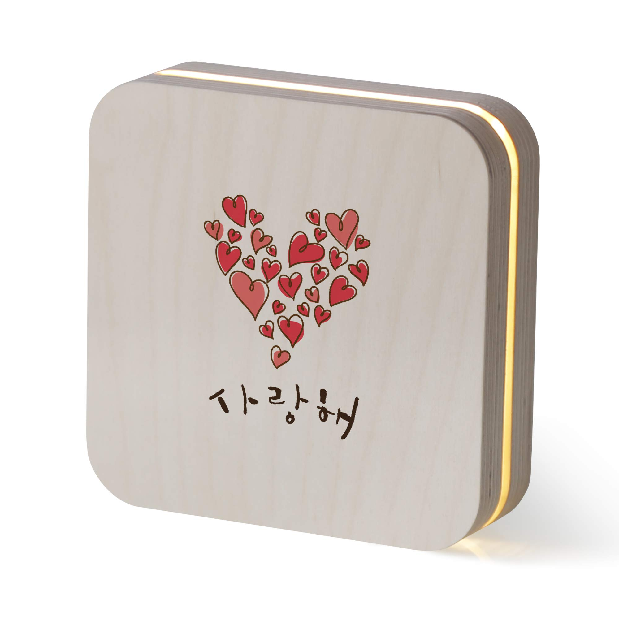 1AM Sandwich LED Table Lamp Design Wooden Calligraphy(Love Big heart)