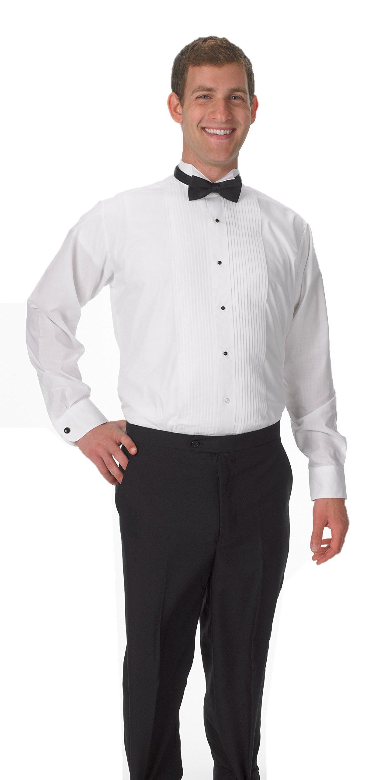 Premium Men's Tuxedo Long Sleeve Shirt Wing-Tip Collar, with Bonus Black Bow Tie - 2XL 34/35