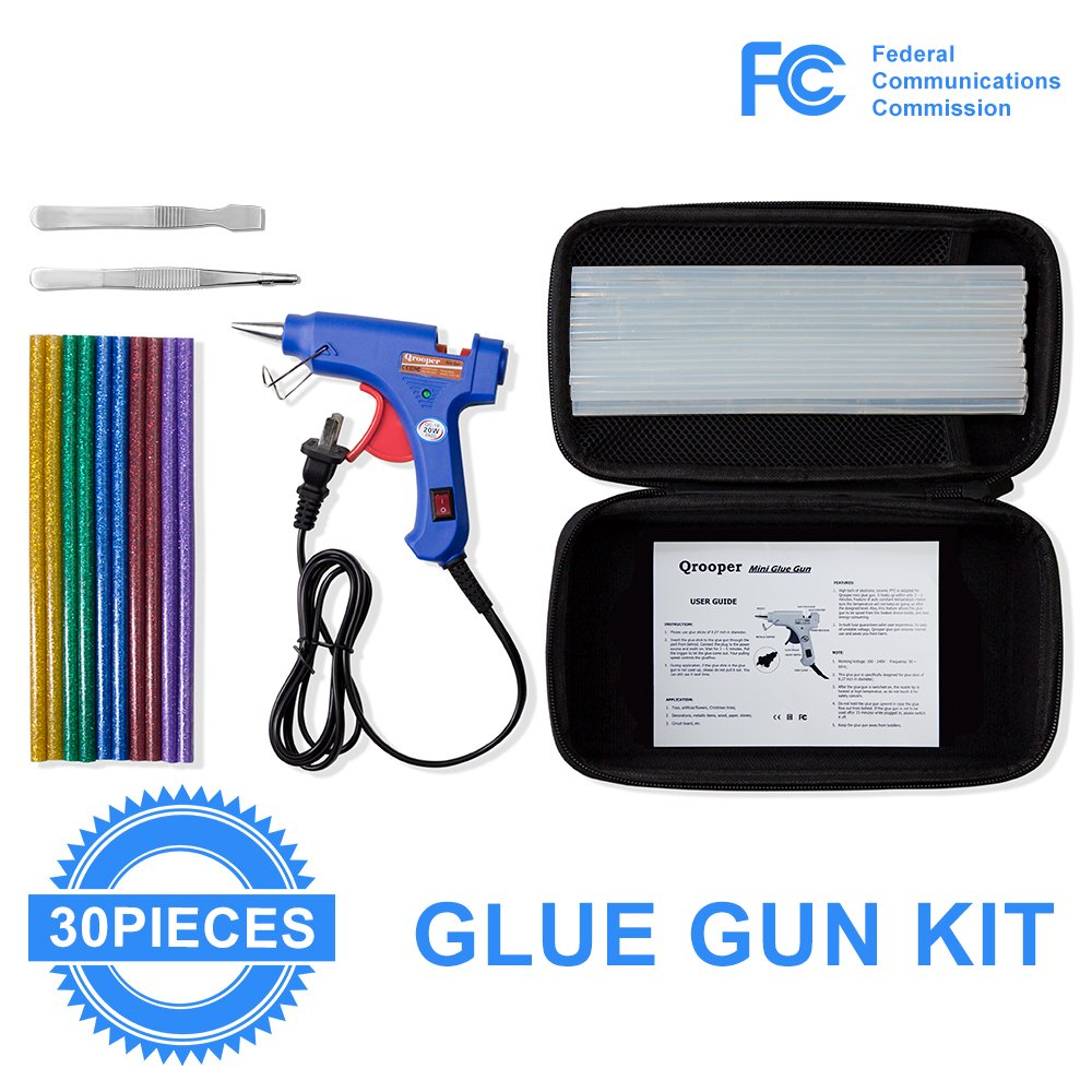 Hot Glue Gun with 30pcs Glittery Glue Sticks and Accesorries High Temperature Melting Glue Gun Kit with Storage Case for Home & Office DIY Craft Projects, Sealing & Repairs (20Watt Blue)
