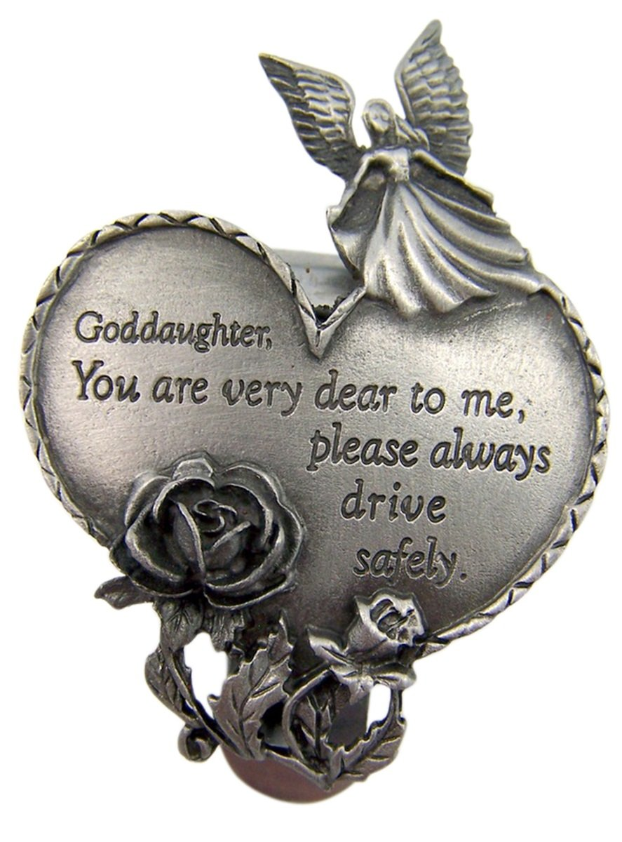 2 3//4 Inch Singer Co Fine Pewter Guardian Angel Goddaughter Heart Auto Visor Clip