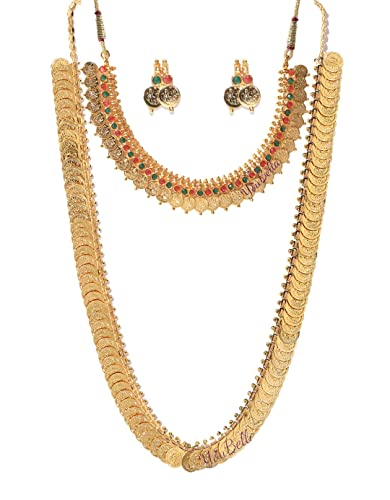 e8693a8b10 YouBella Jewellery Traditional Temple Coin Combo of Laxmi Coin Red Green  Necklace Set/Jewellery Set