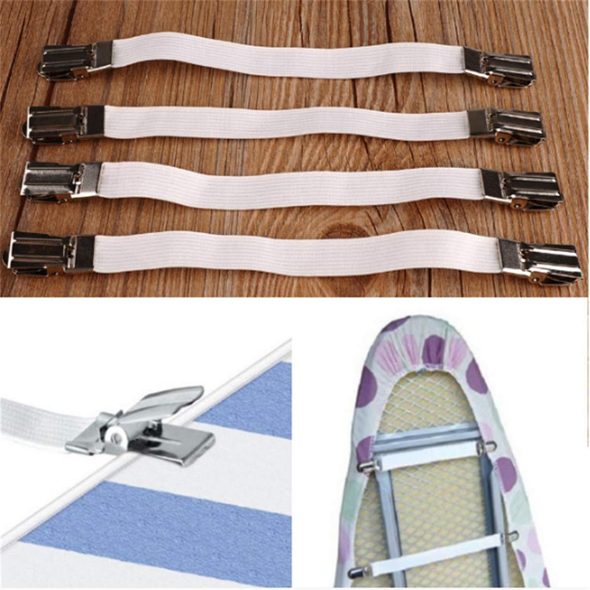 8.66 * 0.63inch Bretelles WEIHEE Porte-Drap-Housse /élastique r/églable avec Sangles /élastiques et Attaches /à Clip pour Porte-draps Blanc