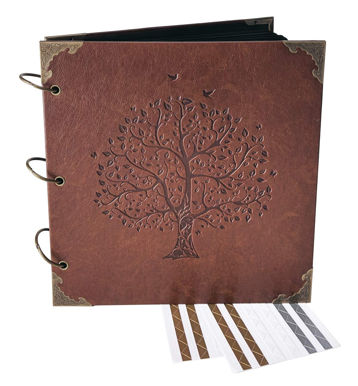 Love Birds, Tree of Life - Engraved Wedding Guest Book, Hard Cover Ring Bound Scrapbook, Photo Booth Album (Black Sheets, 10.5'' x 10.2'')